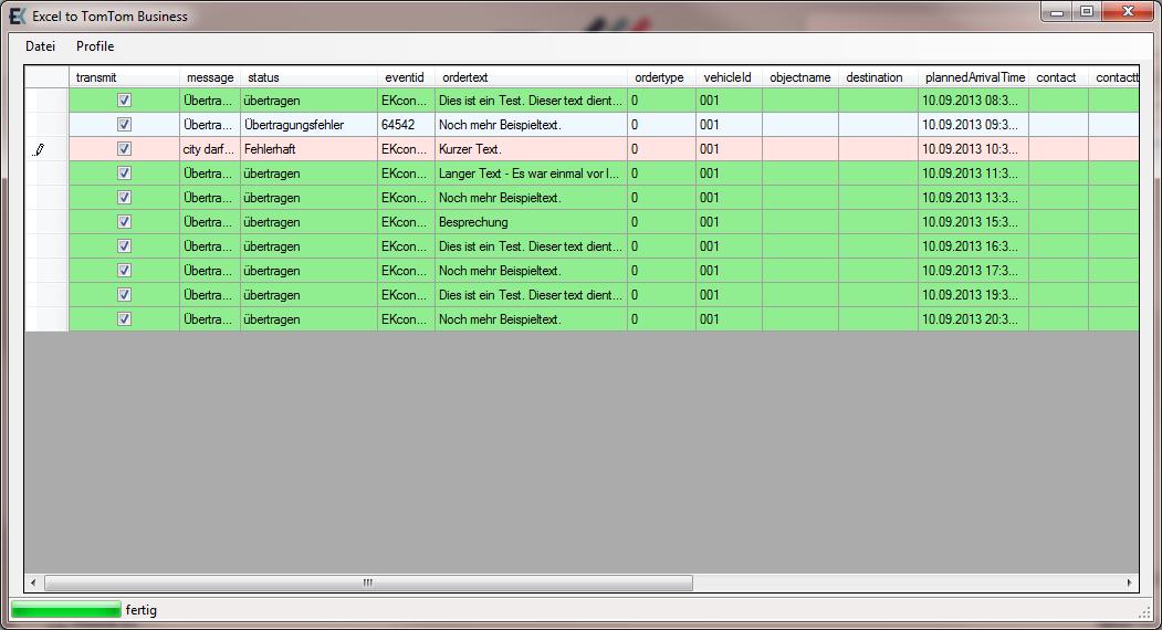 Programmhauptfenster nach Übertragung, Excel zu TomTom Business