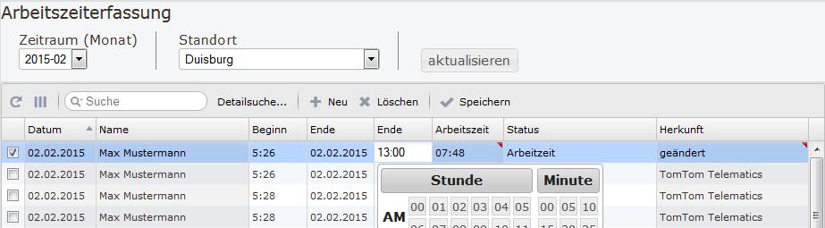 Screenshot Bearbeitung der Arbeitzeiterfassung