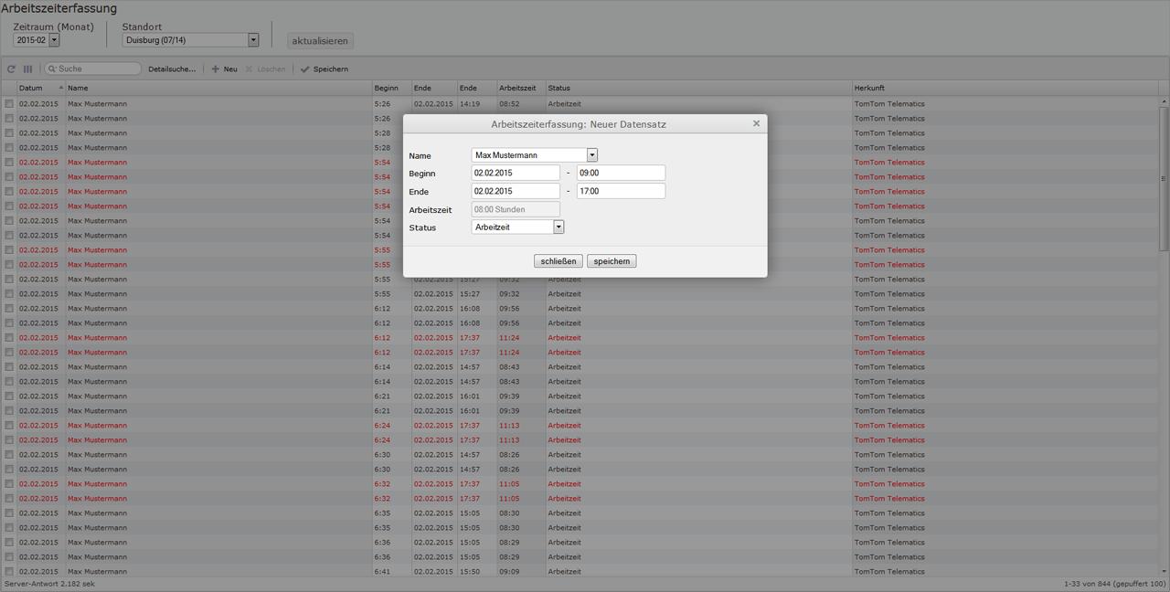 Screenshot Arbeitzeiterfassung Neuen Datensatz erfassen