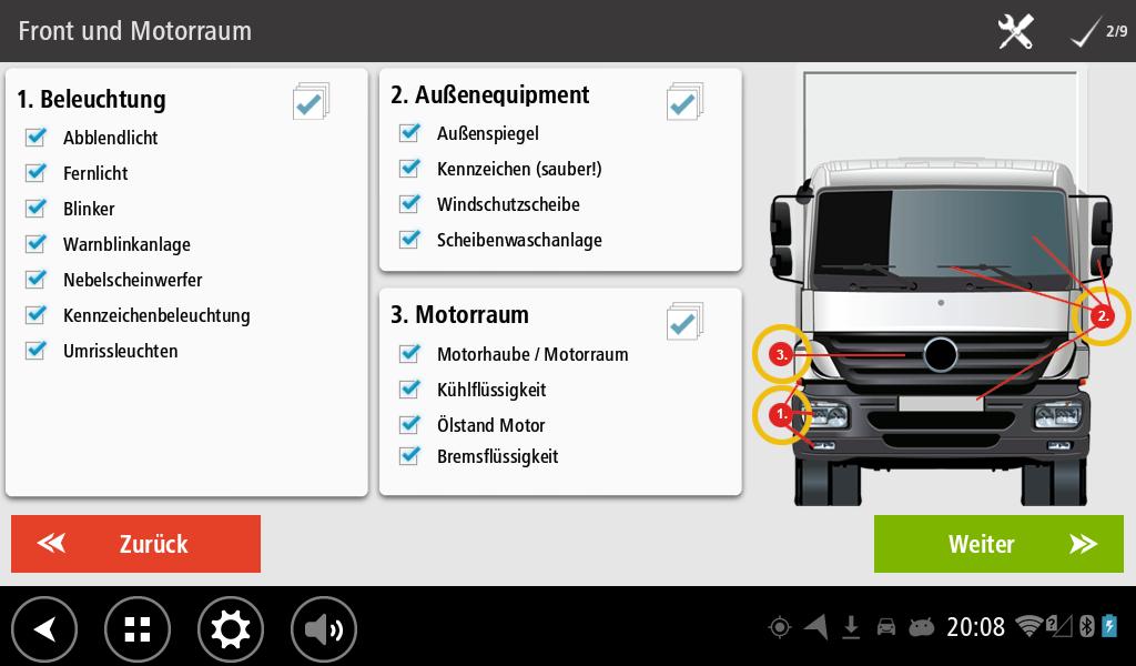 Workflow Abfahrtskontrolle Checkliste für die Front und den Motorraum
