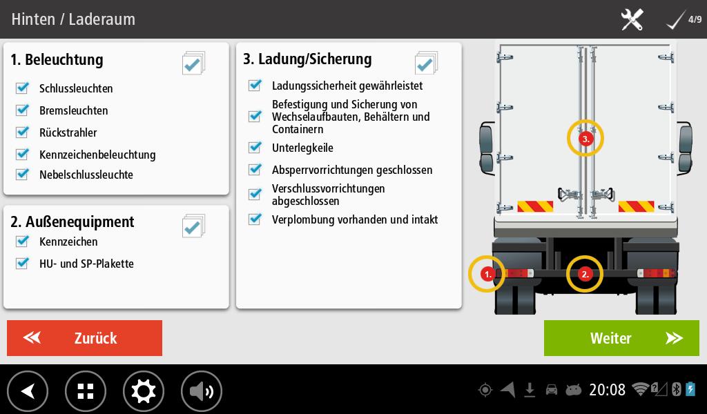 Workflow Abfahrtskontrolle Checkliste für die Kontrolle Hinten und den Laderaum