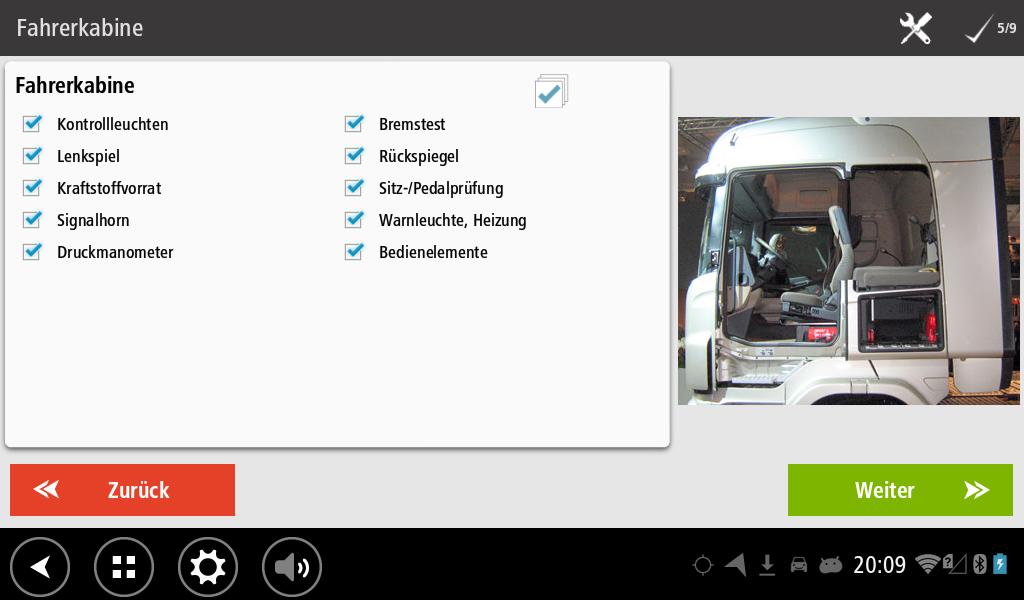 Workflow Abfahrtskontrolle Checkliste für die Fahrerkabine