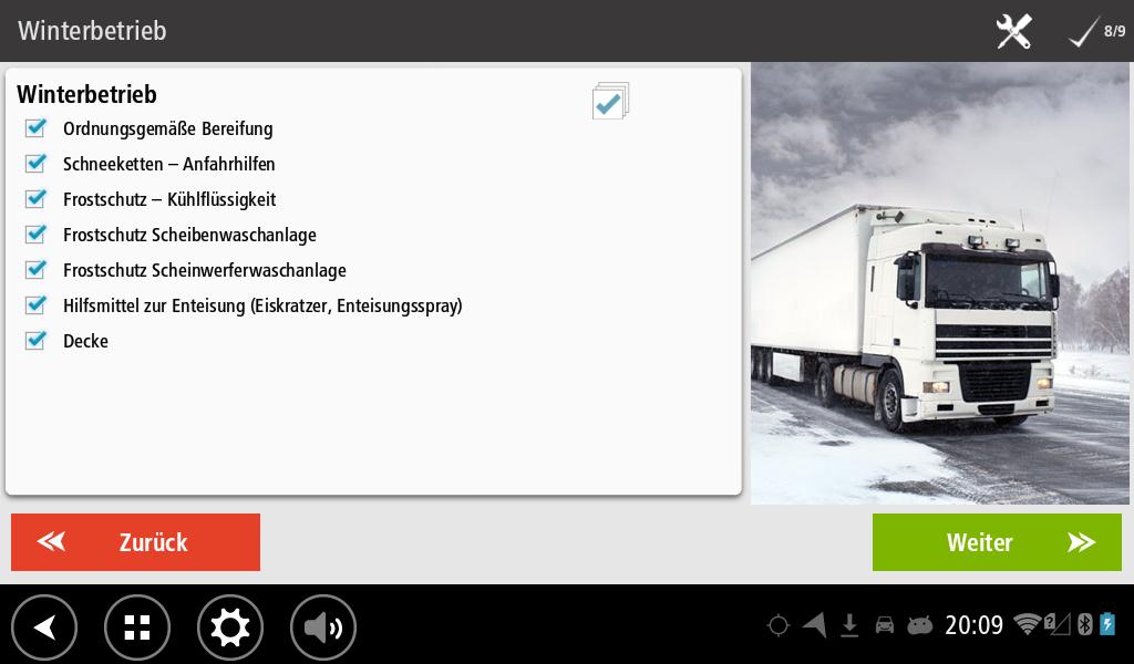Workflow Abfahrtskontrolle bei Winterbetrieb