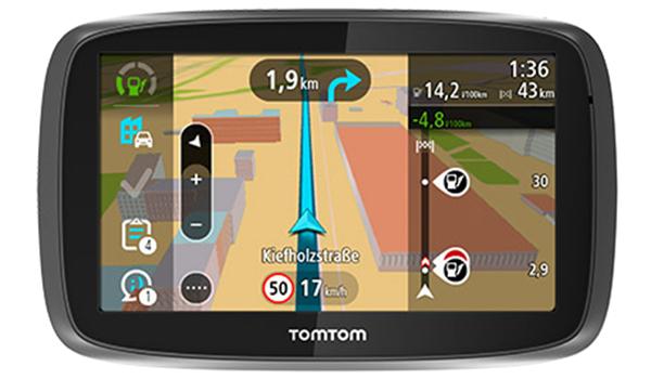 TomTom Navigationsgerät mit laufender Navigation