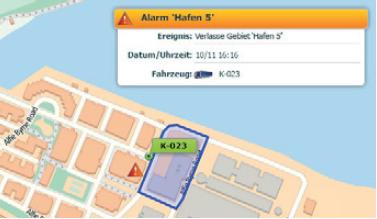 Kartenübersicht mit Fahrzeugortung mit Beispiel einer Alarmmeldung