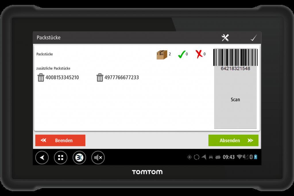 Workflow für Packstücke mit Barcode